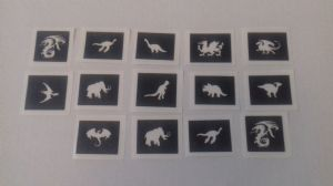 10 - 100 dragon & dinosaur themed mini small stencils for glitter tattoos / airbrush / face painting  Ideal for Fund raising, PTA - School & charity